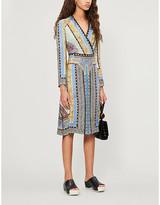 Etro Floral-print wrap-over woven midi wrap dress