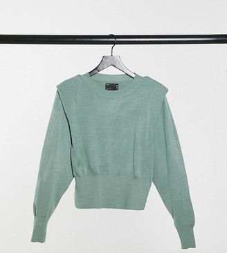 ASOS DESIGN Petite waisted jumper with shoulder pad in sage