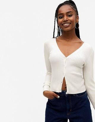Monki Silja knitted cardigan in white