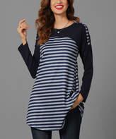 Reborn Collection Women's Tunics Navy - Gray & Navy Striped Color Block Tunic - Women