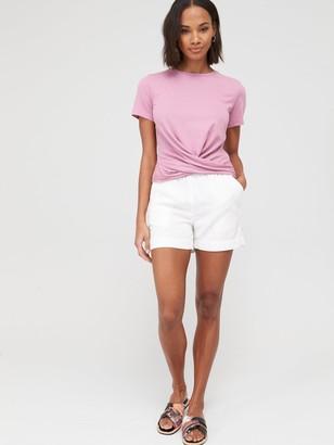 Very Twist Hem T-Shirt- Pink
