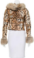 Blumarine Fox-Trimmed Ponyhair Jacket