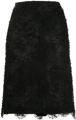 Chanel Pre Owned Floral Lace Midi Skirt