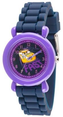 Disney Cars 3 Cruz Ramirez Boys' Purple Plastic Time Teacher Watch, Blue Silicone Strap