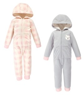 Hudson Baby Toddler Girls Bear Fleece Coveralls and Playsuits Jumpsuits, Pack of 2