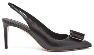 Salvatore Ferragamo Zahir Bow Point-toe Leather Slingback Sandals - Womens - Black
