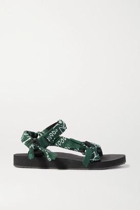 Arizona Love Trekky Printed Gauze-trimmed Canvas Platform Sandals - Army green