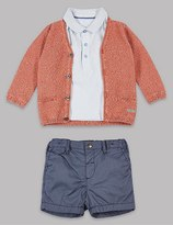 Marks and Spencer 3 Piece Pure Cotton Cardigan & Polo T-Shirt with Shorts Outfit