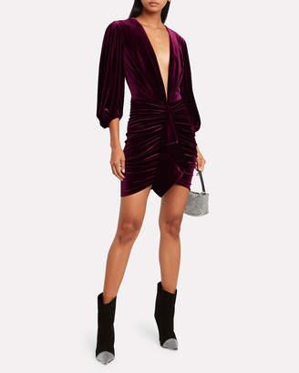 Alexandre Vauthier Draped Velvet Puff Sleeve Dress