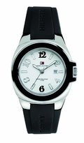 Tommy Hilfiger Riverside Black Silicone White Dial Women's Watch #1780917