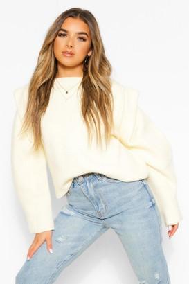 boohoo Petite Knitted Cap Shoulder Long Sleeve Sweater