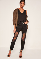 Missguided Black Open Leg Ripped Mom Jeans