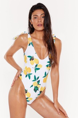 Nasty Gal Womens Lemon High-Leg Swimsuit with Scoop Neckline