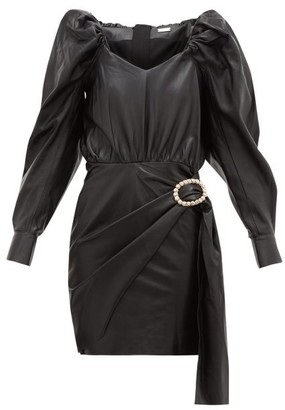 Dodo Bar Or Mona Crystal-buckle Leather Dress - Black