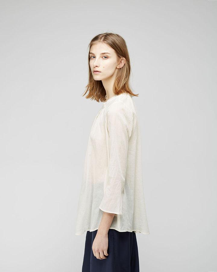 Organic by John Patrick ruched gauze blouse