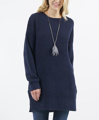 Lydiane Women's Tunics NAVY - Navy Crewneck Side-Slit Sweater - Women
