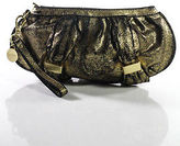 Botkier For Target Gold Black Leather Embellished Round Small Clutch Handbag
