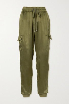 CAMI NYC The Elsie Silk-charmeuse Track Pants - Army green