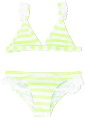 Sunuva Broderie Anglaise Trim Striped Bikini