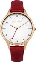 Karen Millen Red Leather Watch - Red