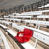 Marshallville Wide Reclining/Folding Stadium Seat with Cushion Freeport Park Color: Red