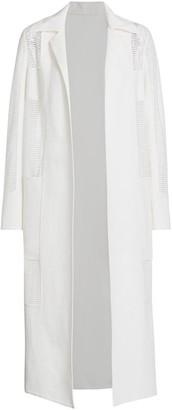 Akris Highness Linen Crepe Stripe Accent Coat