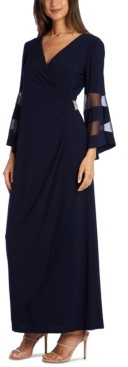 R & M Richards Illusion-Sleeve Gown