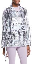 Nike Zip-Front Graphic-Print Metallic Ripstop Pullover