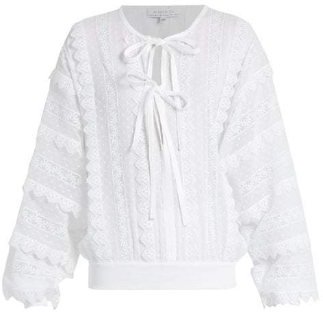 Andrew Gn Lace Trimmed Tie Neck Cotton Blouse - Womens - White
