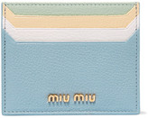 Miu Miu Textured-leather Cardholder - Blue