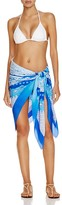 Gottex Blue Jasmine Printed Silk Sarong Swim Cover Up