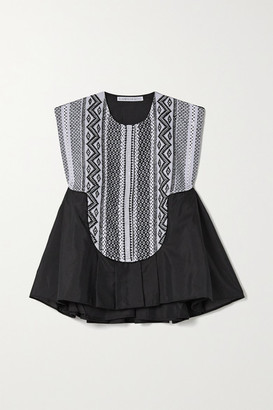 RUE MARISCAL Net Sustain Cotton And Silk-blend Voile And Crochet Peplum Top - Black