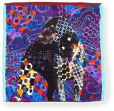 Etro Silk Dog-Print Pocket Square, Blue Multi
