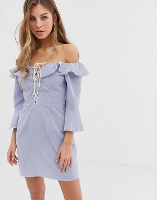 Asos DESIGN off shoulder mini dress with fluted sleeve in stripe