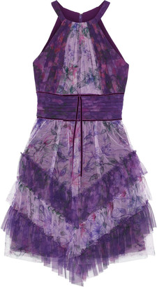 Marchesa Notte Tiered Velvet-trimmed Floral-print Tulle Mini Dress