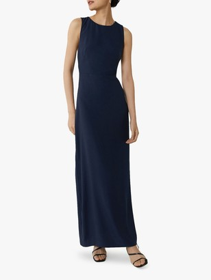 Warehouse Column Cross Back Dress, Navy