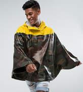 Herschel Forecast Waterproof Poncho In Camo/Yellow Uk Exclusive