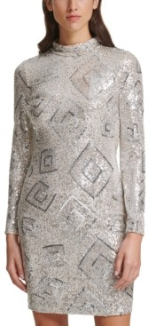 Eliza J Geo-Patterned Sequin Dress