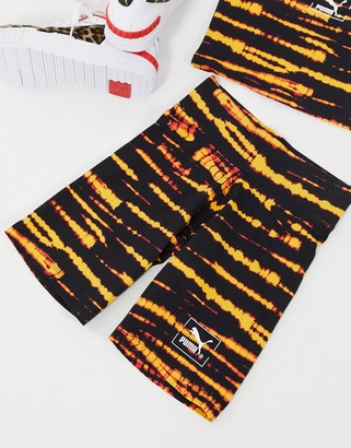 Puma Tie Dye legging shorts in black