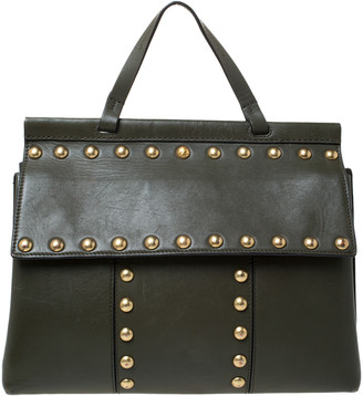 Tory Burch Olive Green Leather Block-T Studded Top Handle Bag