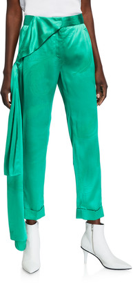 Hellessy Okeefe Satin Trousers with Drape Detail