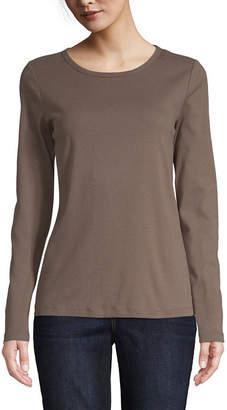 ST. JOHN'S BAY Womens Crew Neck Long Sleeve T-Shirt