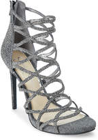 Jessica Simpson Pewter Razella Embellished Caged Pumps