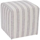 Kim Salmela Quinn Cube Ottoman - Blush/Gray Stripe