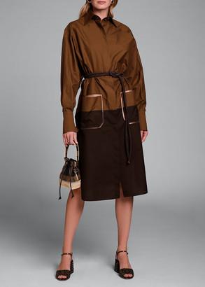 Fendi Long-Sleeve Cotton Oversize Colorblock Shirtdress