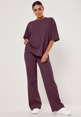 Missguided Wine Rib T Shirt And Wide Leg Pants Co Ord Set