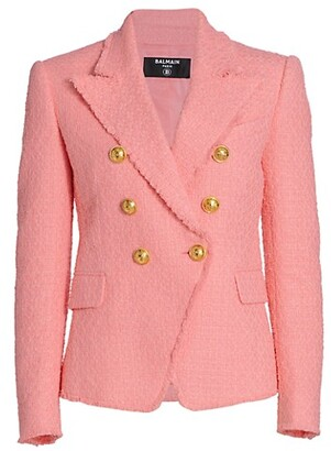Balmain Six Button Double Breasted Tweed Jacket