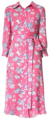 Carolina Herrera Floral Belted Silk Midi Dress
