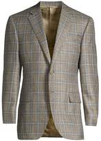 Canali Classic-Fit Textured Wool Windowpane Check Sportcoat