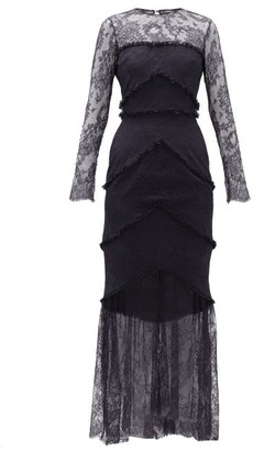 Emilio De La Morena Lace-trim Sheer Hem Gown - Navy Multi